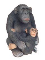 134080 Affe Schimpanse mit Kind Figur lebensgroß