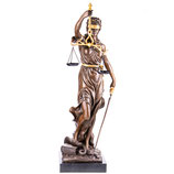RIYB256 Bronzefigur Justitia mit Goldener Bemalung