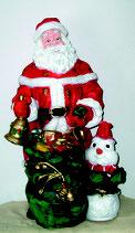 RISW22 Weihnachtsmann Figur mit Sack und Schneemann für Weihnachten