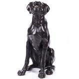 RIYB588 Bronzefigur Sitzender Jagdhund