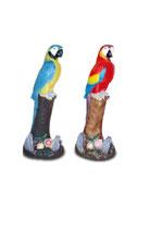 25060 Papagei auf Stamm in blau oder rot