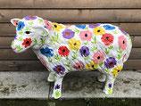 RI122030 Schaf Figur steht (klein) mit Blumenmotiven Deko Garten Tier Werbe Figur