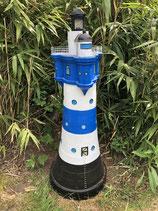 RIV28 Leuchtturm Figur mit Licht blau-weiss Maritime Figur