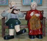 30060 Oma und Opa auf Bank Figur lebensgroß