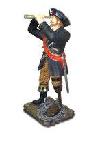 14125 Pirat Figur lebensgroß mit Fernglas