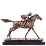 RIYB530 Bronzefigur Jockey mit Pferd