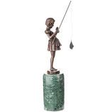 RIBT867 Art Deco Bronzefigur Mädchen mit Angel nach F.Preiss