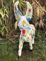 RIB107 Esel Figur mit Blumenmotiven
