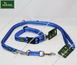 Hunter Power Grip blau Set Basic Halsband + Leine