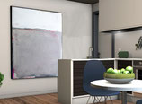 graues abstraktes Landschaftsbild 140 x 120 cm