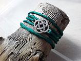 Grünes Seidenarmband Keltischer Knoten Antiksilber
