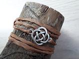 Braunes Seidenarmband Keltischer Knoten Antik silber