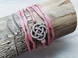 Rosa Seidenarmband Keltischer Knoten Antik silber