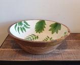 Houten slaschaal XL met handbeschilderde binnenkant leafs
