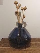 Onregelmatig gevormde vaas van gerecycled glas blauw