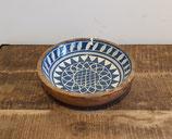 houten schaal M met handbeschilderde binnenkant blauw