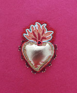 Flamboyant Red Heart Brooch/ Appliqué