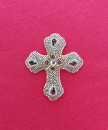 Silver Moon Cross Brooch