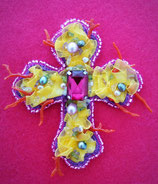 Semi Precious Gem Embroidered Cross Brooch