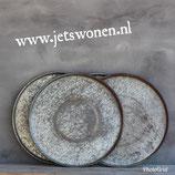Grote metalen schaal/dienblad 55cm