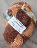 Soft Peach + Salmon 1 ply handspun yarn