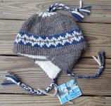 Below Zero Hat - Dark gray w/blue + white