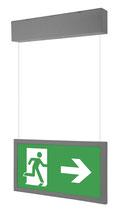 LED Zweiseitige Fluchtweg Notbeleuchtung 3,2W Hängende Deckenmontage Dauer- oder Bereitschaftsschaltung IP44