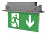 LED zweiseitige Fluchtweg Notbeleuchtung 1,2W Deckeneinbaumontage  Dauer- oder Bereitschaftsschaltung IP20