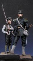 Figurines Chasseur à pieds 1870 & enfant (Réf.FH003)