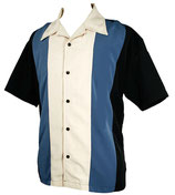 Rockabilly Bowling Shirt GARY black/blue Long Sleeve ( Langarm )