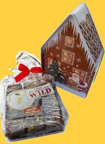 Sammlerhäuschen Santa, gefüllt mit 3 Lebkuchen-Sticks Ihrer Wahl