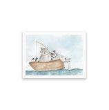 Waschbären im Boot - kunstdruck
