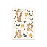karte / Postkarte kleine Füchse