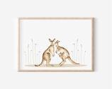 Känguru Illustration , känguru Tierbilder für kinderzimmer - kunstdruck