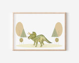 Trixi Dinosaurier illustration, kunstdruck Triceratops