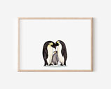 Familie der Pinguine illustration- Kunstdruck