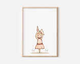 Poster Ballerina Kaninchen - kunstdruck