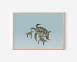 Mutter Meeresschildkröte - kunstdruck