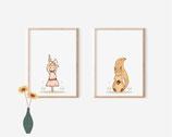Set Bilder Poster A4 Eichhörnchen und Kaninchen - kunstdruck