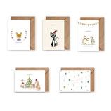 Grußkarte/ klappkarte Set Weihnachtskarten