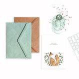 Grußkarte/ klappkarte  Fuchs - Herzlichen Glückwunsch -