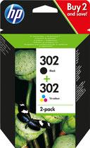 Pack HP 302 Noire et Tri Color