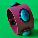 LEDER Armband, Pink mit türkisfarbenen Ziernieten (RLA13)