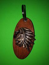 Schlüsselanhänger, Volleder, Indianerkopf, bronzefarbend