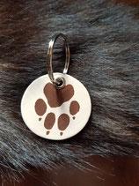 Schlüsselanhänger Hundepfote in runder Form