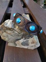 LEDER Armband, Dunkelbraun, runde Ziernieten (RLA39)
