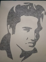 Elvis Presley in Schwarz  nach rechts