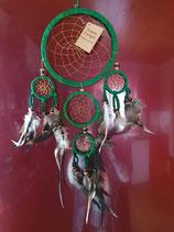 Traumfänger / Dreamcatcher,grün (TR5) mit Hühnerfedern, 5 Ringe