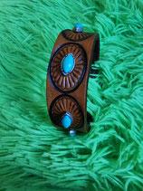 LEDER Armband, Braun, Ziernieten (RLA38)