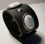 LEDER Armband, schwarz mit Magnesit-Ziernieten(RLA21)